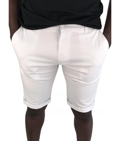 bermuda coton chino homme 4 poches sebastiano blanc